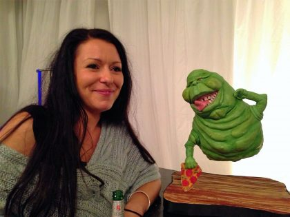 Ghostbusters chocolate Slimer cake